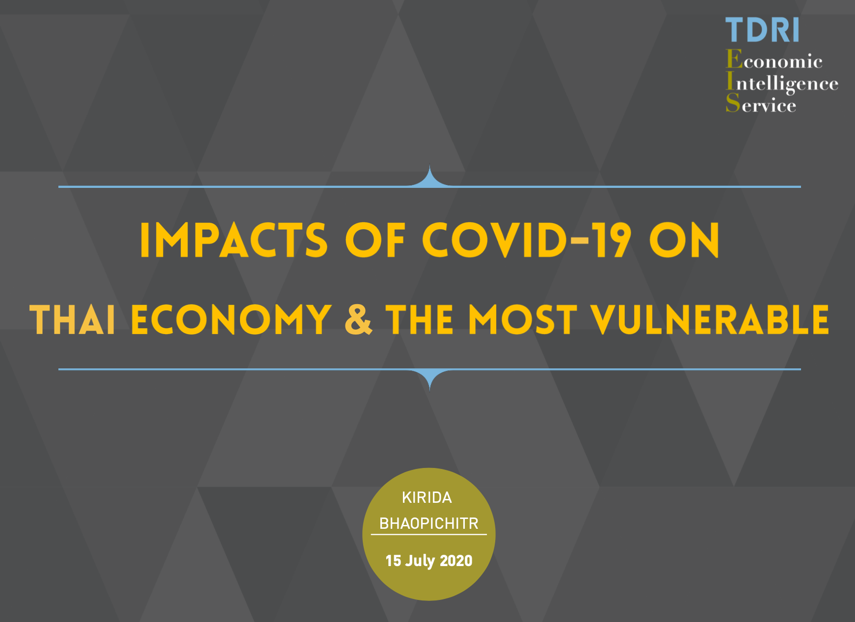 Impact of COVID 19 on Thailand (TDRI July 2020)